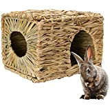 Woven Grass House, Womdee Rabbit Grass Bed with Hamster Grass House, Durable Safe Non-Toxic, Grass Hut for Hamsters, Rabbits, Guinea Pigs