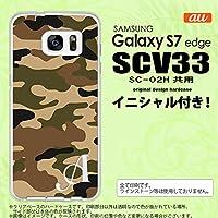 SCV33 スマホケース Galaxy S7 edge ケース ギャラクシー S7 エッジ イニシャル 迷彩A 茶A nk-scv33-1155ini Y