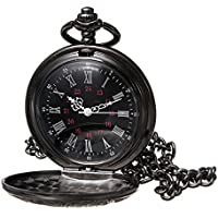 Allnice Pocket Watch Black Roman Retro Vintage Quartz Pocket Watch Roman Numerals Steampunk Fob Watch