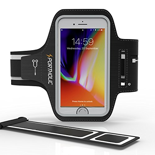 ランニングアームバンド スポーツ スマホ アームバンド PORTHOLIC 指紋識別 OK!タッチOK 防汗 軽量 小物収納 調節可能 iPhoneX、iPhone6/7/8plus、Samsung、 Androidなど 6インチまでのスマホに対応 生涯保証付き