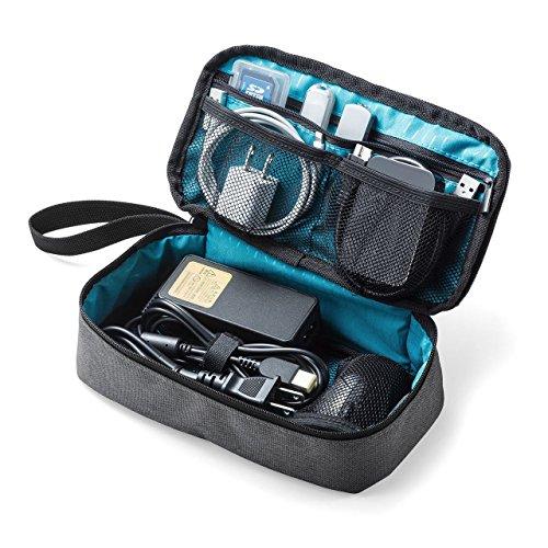 サンワダイレクト トラベルポーチ 充電器ポーチ PC周辺小物整理 収納ポーチ 旅行 グレー 200-BAGIN006GY