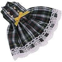 Dovewill グリーン 1/6ブライスドール用 人形アクセサリー チェック柄 ワンピース ちょう結び フロックスカート