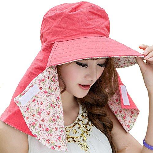 COCONUTS 日よけ帽 日よけカバー 帽子 日焼け防止 リバーシブル (ピンク×ピンク系小花柄)