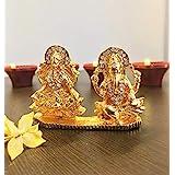 Lakshmi Ganesh Golden Statue for Home Temple Or Car Dashboard -2.5 inch