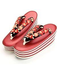 (キステ)Kisste 振袖?袴用 ハイヒール草履 <7枚芯×牡丹刺繍> 赤白台 黒花緒 フリーサイズ 7-1-03062