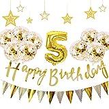 5歳 誕生日 飾り付け 21点 セット - Gehome ゴールド バースデー バルーン 飾り 男の子と女の子用(5歳)