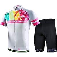 LSERVER 半袖 自転車ウェア 上下セット メンズ 3D立体パッドパンツ サイクルジャージ 吸汗 速乾 通気 サイクルウェア シャツ サイクリングウェア 春夏 男性用 ビブ選択可