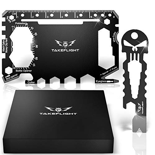 Credit Card Tool Gift Set - Tactical Pocket Tool Gadgets for Men | EDC Keychain - Wallet Multitool Giftset with Pocket Survival Tools - Multi Tool Accessories in Gift Box (Wallet Tools - Black)