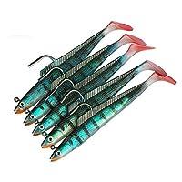 LSERVER スイムベイト ソフトルアー セット ワーム Tテール 釣り フィッシング 15cm 33g 五個入り グリーン