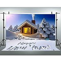 VVM 10x7フィート クリスマス 写真撮影 背景 雪 ログ キャビン ホワイト 世界年 ファミリー パーティー 写真 ブース 背景 GYVV698