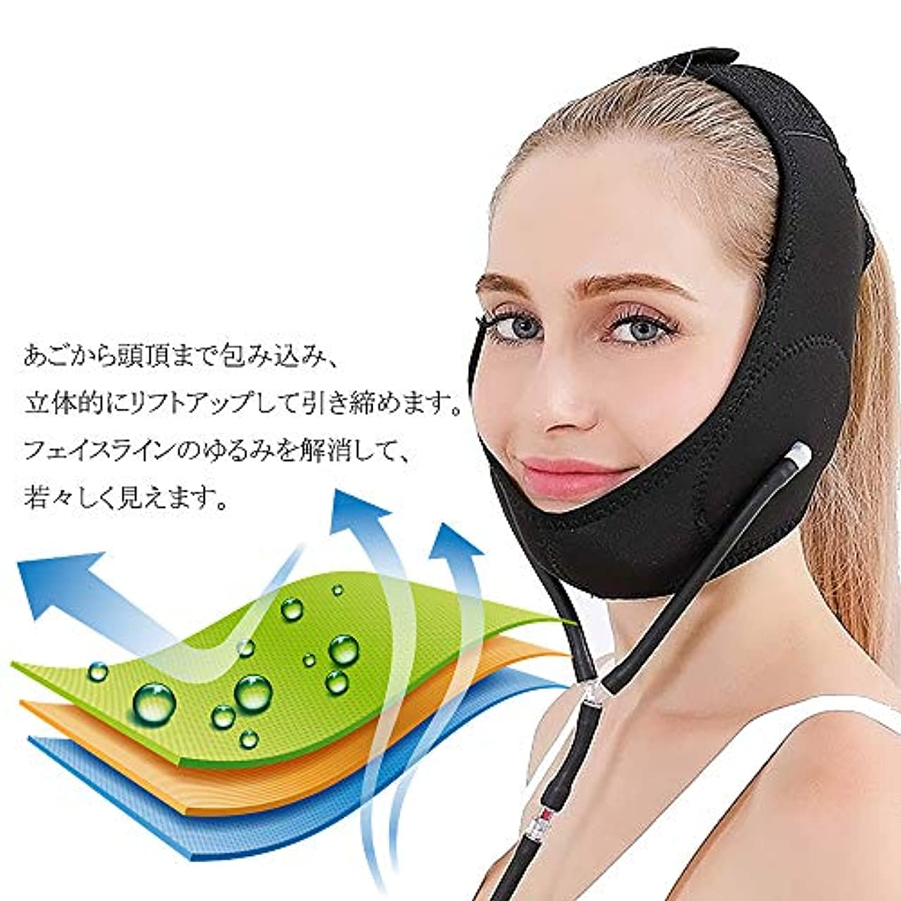 吸収不一致終わりSHQIDLILAG (ヨイ) エアー 顔やせ マスク 小顔 ほうれい線 空気入れ エアーポンプ 顔のエクササイズ フェイスリフト レディース (フリーサイズ, ピンク) (B)