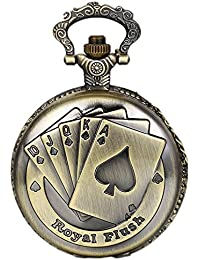 (よんピース)4 piece 懐中時計 トランプ アンティーク風 ネックレス 時計 ペンダント ウォッチ ポケット ウォッチ 合金 KH0073