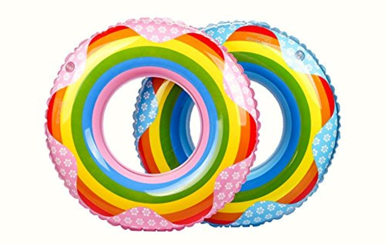 UNOPRO 浮き輪 可愛い おしゃれ プール 海 水遊び 直径60 70 80 90cm PVC素材 ピンク ブルー 【色指定不可】 (90)