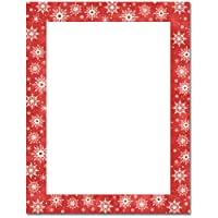 Snowflakes on Red BorderクリスマスHolidayコンピュータプリンタ用紙( 150枚)