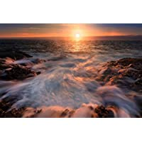 フォーミー?ウォーター?ビーチ - #29890 - キャンバス印刷アートポスター 写真 部屋インテリア絵画 ポスター 50cmx33cm