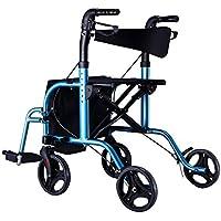 高齢者の買い物カートアルミ合金の折り畳み式四輪駆動トロリー、シートブースター付きホイール付