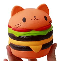Flourishing 可愛ハンバーガー猫柄 押し出すおもちゃ 減圧 ストレス 低反発おもちゃ(カラー)