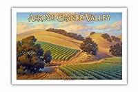 アロヨ・グランデ・バレー・ワイナリー - セントラルコーストAVAブドウ園 - カリフォルニアワインカントリーアート によって作成された カーン・エリクソン - プレミアム290gsmジークレーアートプリント - 61cm x 91cm