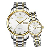 OLEVS Couple Watchesアナログ表示クォーツ腕時計防水for Loversペアでパッケージ Gold-white