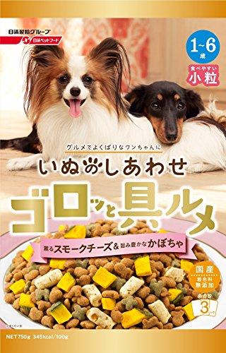 いぬのしあわせ ドッグフード ゴロッと具ルメ 小粒 1~6歳までの成犬用 スモークチーズ&かぼちゃ入り 750g