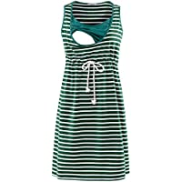 GINKANA Sleeveless Women's Maternity Nursing Dress for Breastfeeding Knee Length Pregnancy Dress