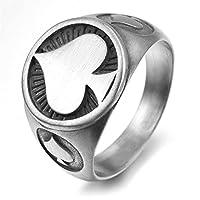 Ianlex チタン オシャレ メンズファッション アクセサリー おしゃれ ハートモチーフ リング バンド 指輪 サイズ 17