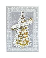 Anna Griffinボックスof 10シルバー/ゴールドツリーtis the seasonクリスマスカード