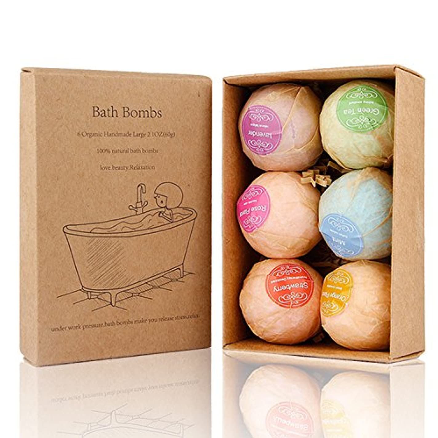Bath Bomb, 温泡 入浴剤 ギフトセット6個入り, Perfect for Bubble & Spa Bath Ultra Lush Bath Fizzies