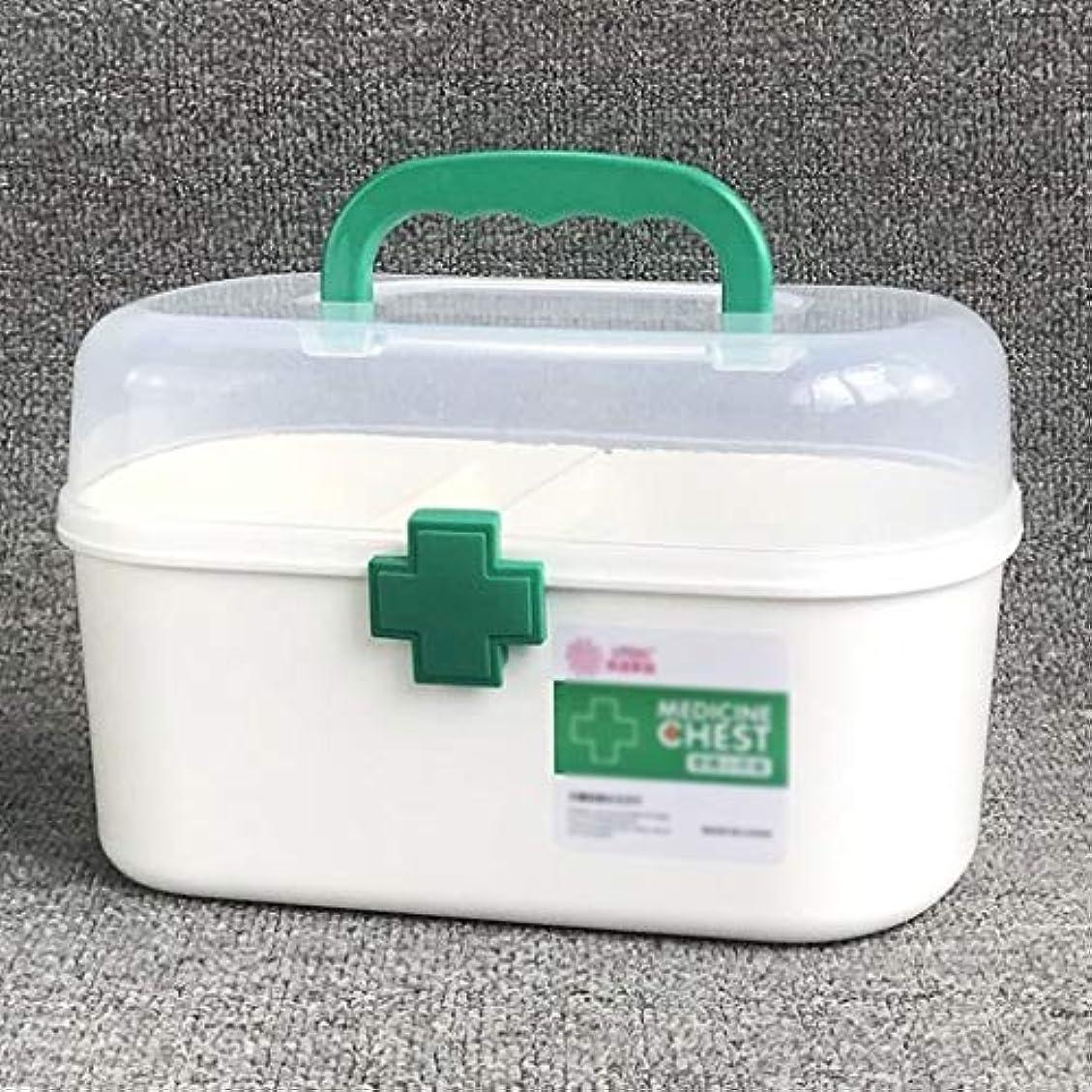 上院無実愛薬のケース家庭用ポータブル緊急医療キット多機能大容量収納ボックス付きロックバックルトップ透明デザイン SYFO (Color : Green)