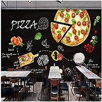 Djskhf 壁画壁紙ウォールステッカーDiyビニール家の装飾 カスタム3D写真の壁紙黒手塗りピザ壁画カフェデザートピザショップ西洋レストラン背景壁の装飾絵画 120X60Cm