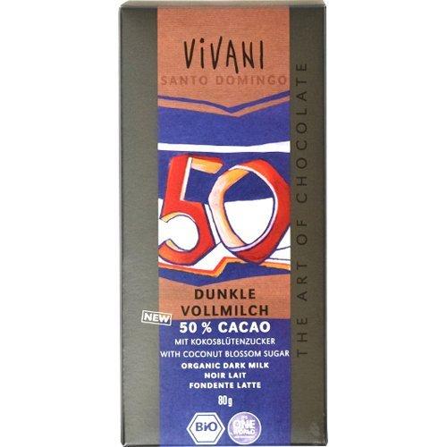ヴィヴァーニ オーガニックダークミルクチョコレート 50% 80g ×4セット