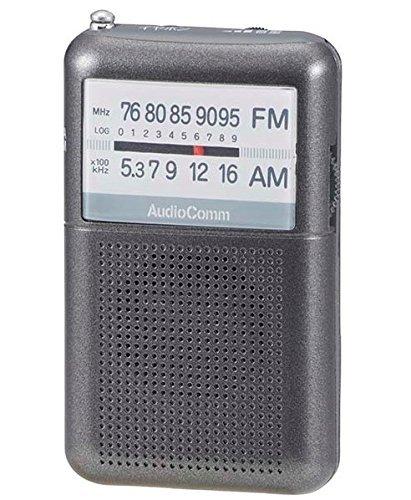 ポケットラジオ ワイドFM グレー AudioComm_RAD-P122N-H 07-8852