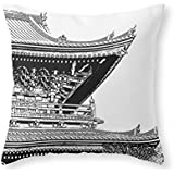 "society6 Japanese Temple Throw枕 Cover (16"" x 16"") with pillow insert s6-3994029p26a18v129a25v193"