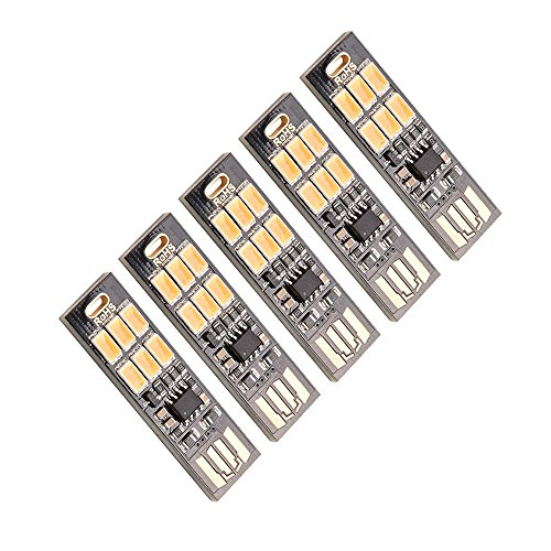 [해외]USB LED 라이트 터치 스위치 식 무단계 조광 양면 USB 연결 가능 6LED 라이트 전구 색 5 매 세트/USB LED light touch switch type stepless dimming double sided USB connection is possible 6 LED light bulb color 5 piece set