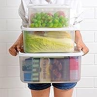 キッチン鮮度保持容器 全粒穀物 密閉 収納保存 仕切付き容器 冷蔵庫プラスチックコンテナ (3点セット)