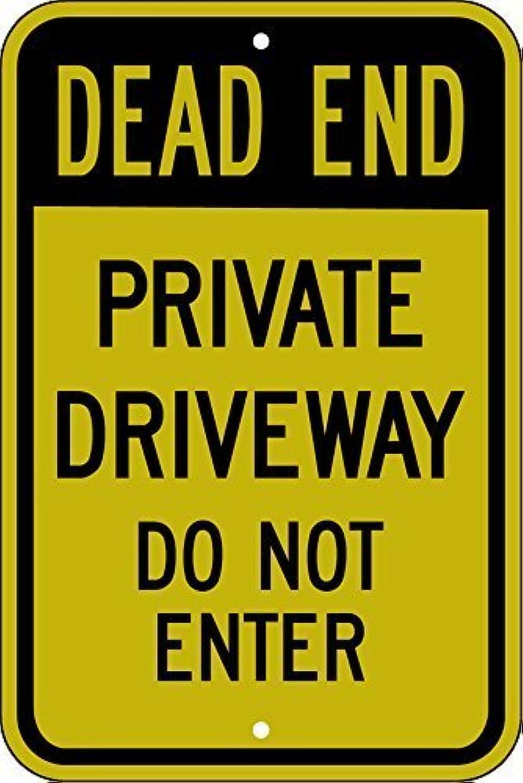 victorjoan Funny Yard Decorative Signs for Outdoorsホームメタルアルミニウム壁サイン安全サイン反射サイン、Dead End – Private Driveway入力しない、18 x 12インチ
