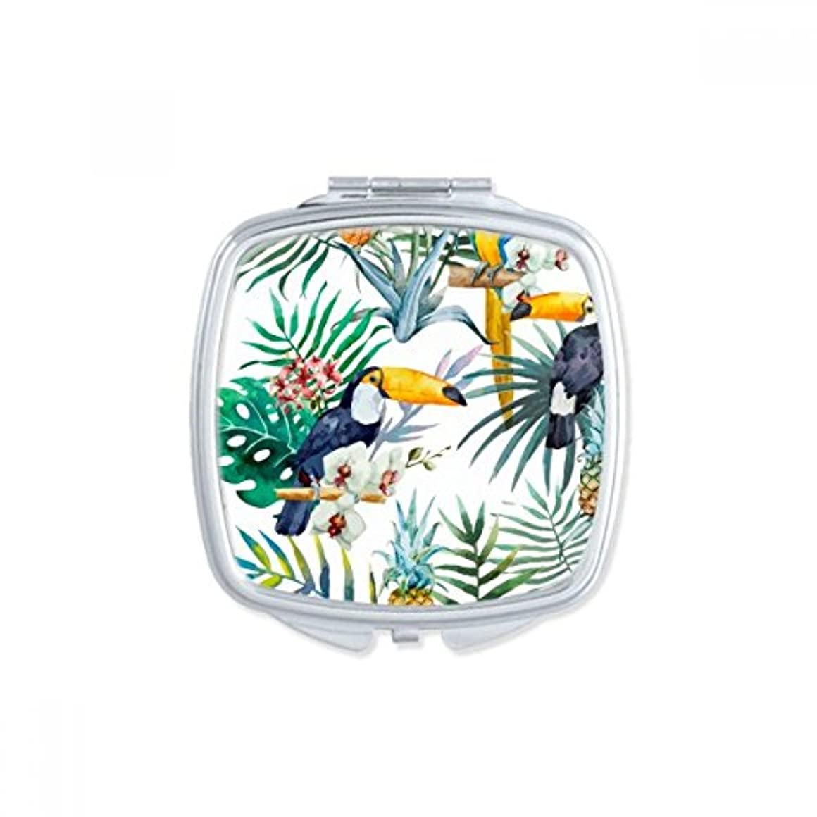 水彩画のオオハシの低木のパイナップルのオウム スクエアコンパクトメークアップポケットミラー携帯用の小さなかわいいハンドミラープレゼント