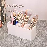 メイクアップ化粧品オーガナイザー収納ボックス、プラスチック化粧ブラシリップスティックジュエリーホルダー (Color : White)