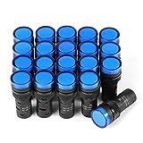 信号灯 信号インジケータ LEDライト AD16-16C 12V 表示灯 インジケータライト LED フラッシュパネル マウント 19mm 20個入り 4色選択 (ブルー)