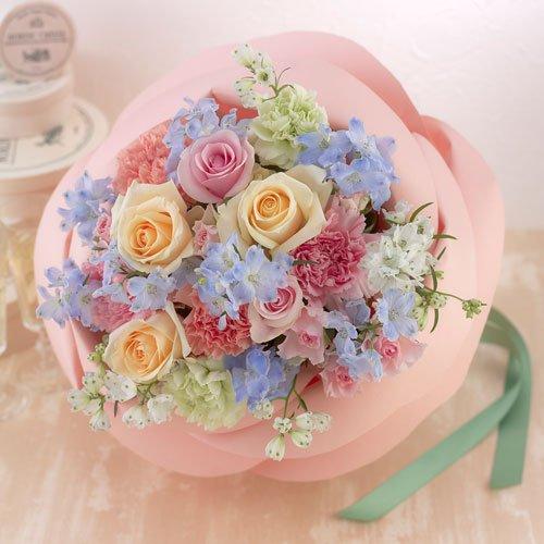【日比谷花壇】バラの形の花束 ペタロ・ローザ「フェミニンミックス」