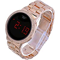 Techno Pave Iced Out Bling Diamond Rose Gold Digital Touch Screen Metal Band Watches WM 8165 RG