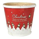 GREENHOUSE クリスマス CMウッドバスケット ラウンドL レッド CM671-A-RD