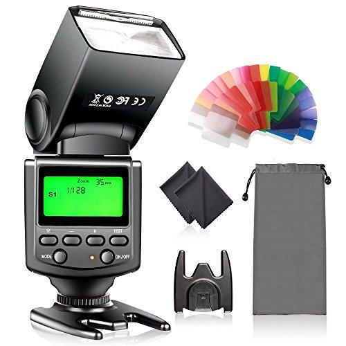 FOSITAN T670 ストロボ スピードフラッシュ LCDディスプレイと標準ホットシュー付きのCanon Nikon Panasonic Olympus Pentax とSonyカメラに対応 豪華ギフトセット:スピードライト+20枚カラーフィルター+2枚クリーニングクロス+三脚スタンド+巾着袋