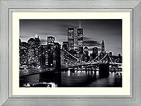 アートフレーム印刷'ブルックリンブリッジ–ブラックとホワイト' Size: 47 x 35 (Approx), Matted グレー 3078659