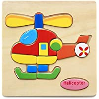 HuaQingPiJu-JP ブランドの新しい木製の教育的なパズルアーリーラーニング番号の形の色の動物のおもちゃ子供のための素晴らしいギフト(ヘリコプター)