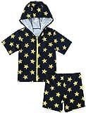 【Babystity】 子供 ベビー 男の子 星柄 水着 (上下別タイプ) 帽子 ハンドタオル 3点セット 80 90 100 110 (100-110cm) KR-SWI008