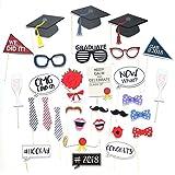 卒業式卒業式パーティーSuppliesの写真ブース小道具、2018大きいサイズ卒業式デコレーション、。Suitable for Adults、ボーイズ、ガールズ、30カウント。