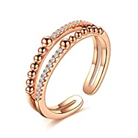 K.L.Y 指輪 レディース 二重 開口 ダイヤモンドCZ リング 18金RGP 高品質ピンキーリング キラキラ レディースかわいい 指輪(ピンクゴールド) (13)