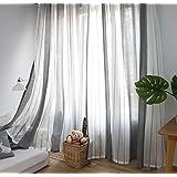 DEZENE(デゼンエ)ストライプ グレーとホワイト北欧 レースカーテン 透けない UVカット 幅100cm×丈176cm(1枚入)