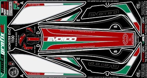 MOTOGRAFIX(モトグラフィックス) ボディーパッド DUCATI MONSTER1100 EVO(09-) TANK/FRONT FENDER REAR BOAD KIT レッド/ホワイト/グリーン/ブラック MT-DTFR001R